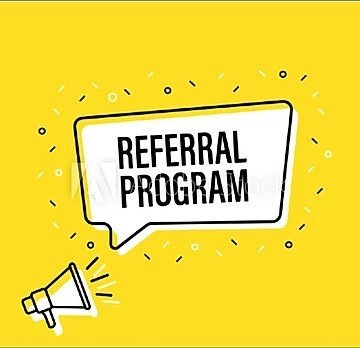 A speech bubble with the words, Referral Program inside it